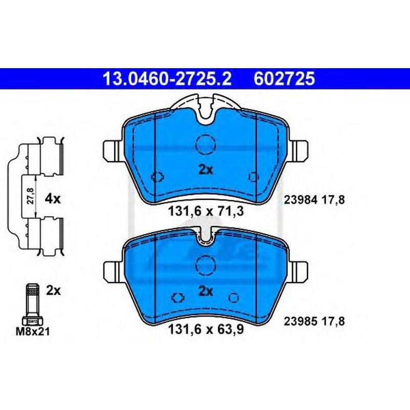 ATE Ceramic Bremsbelagsatz Scheibenbremse 13.0470-2725.2 für MINI