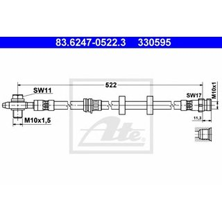 ATE Bremsschlauch 83.6247-0522.3 für SEAT SKODA VW