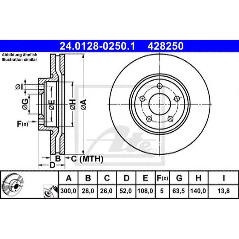 Bremsbeläge VORNE FORD MONDEO III Original ATE Bremsscheiben 300mm belüftet
