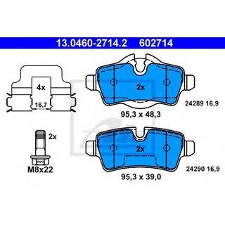 Original ATE Bremsbelagsatz Bremsbeläge 602714 Hinterachse für Mini